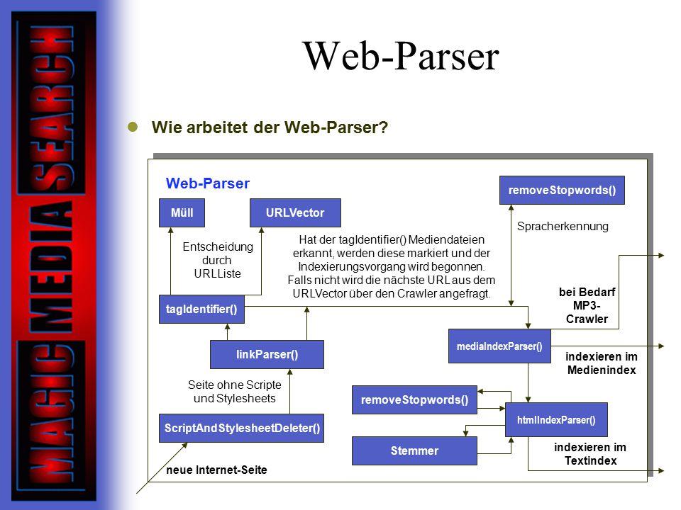 Web-Parser Wie arbeitet der Web-Parser Web-Parser removeStopwords()