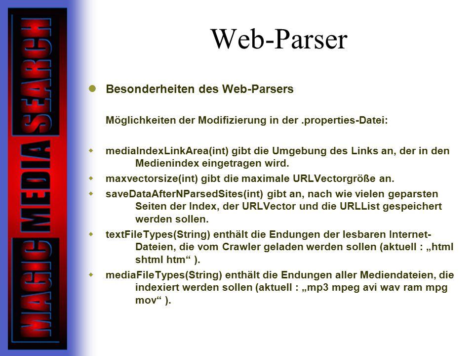 Web-Parser Besonderheiten des Web-Parsers