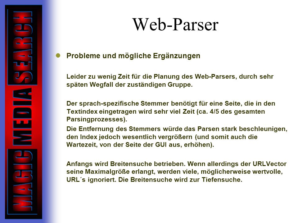 Web-Parser Probleme und mögliche Ergänzungen