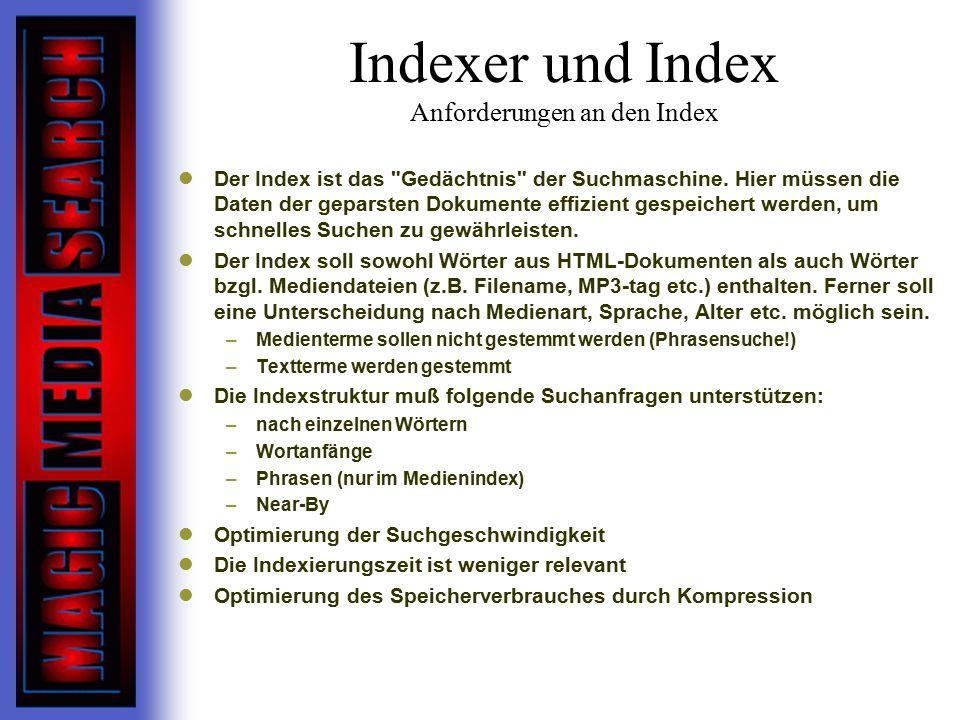 Indexer und Index Anforderungen an den Index