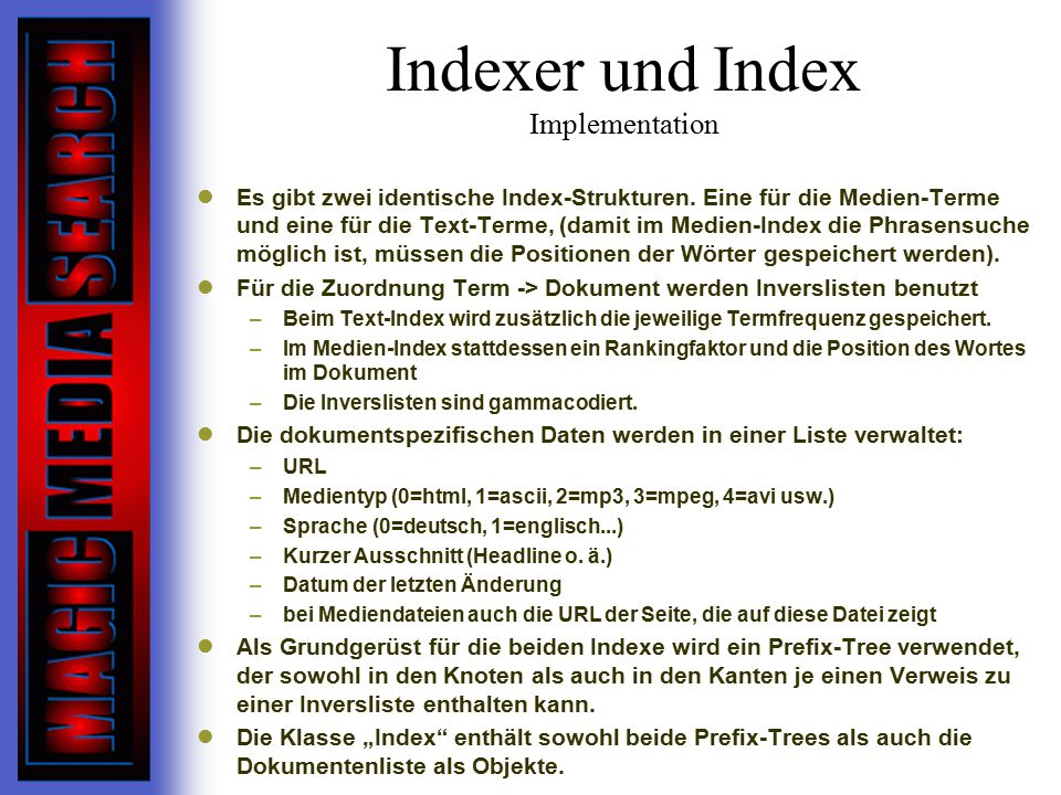 Indexer und Index Implementation