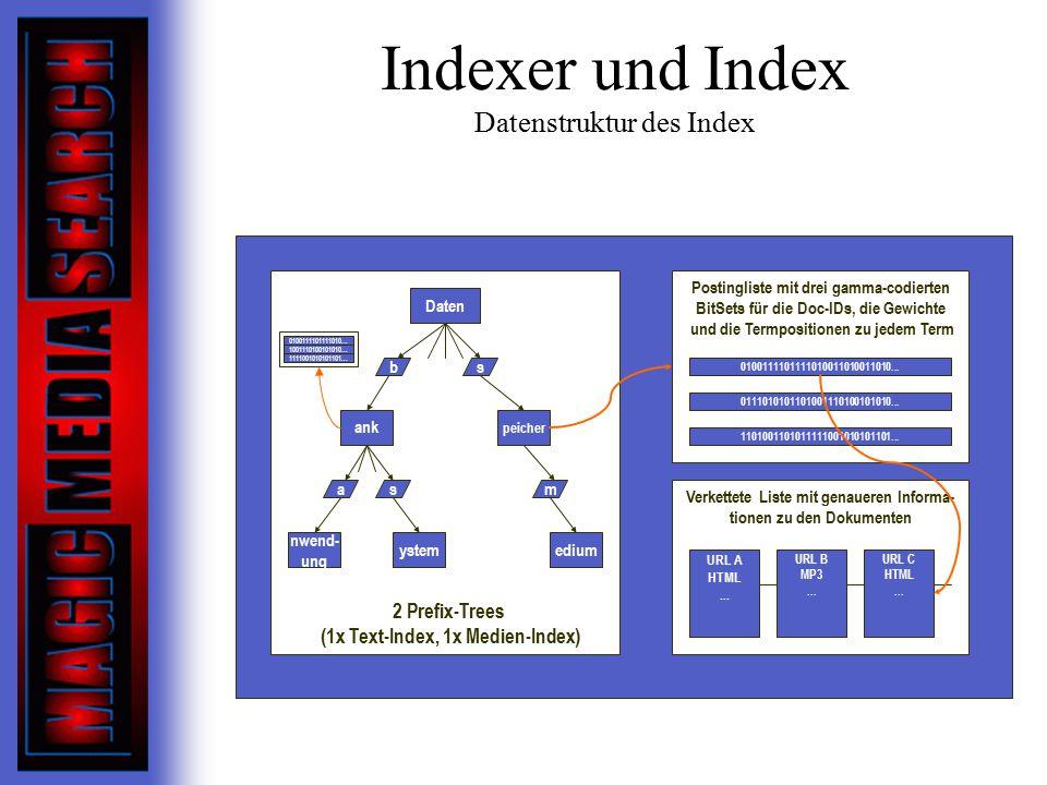 Indexer und Index Datenstruktur des Index