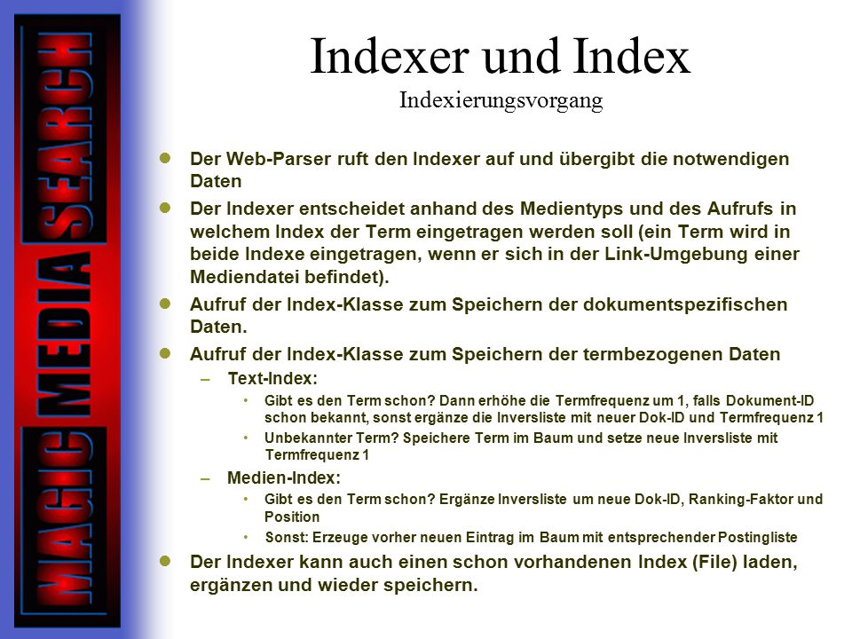 Indexer und Index Indexierungsvorgang