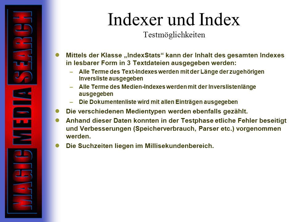 Indexer und Index Testmöglichkeiten