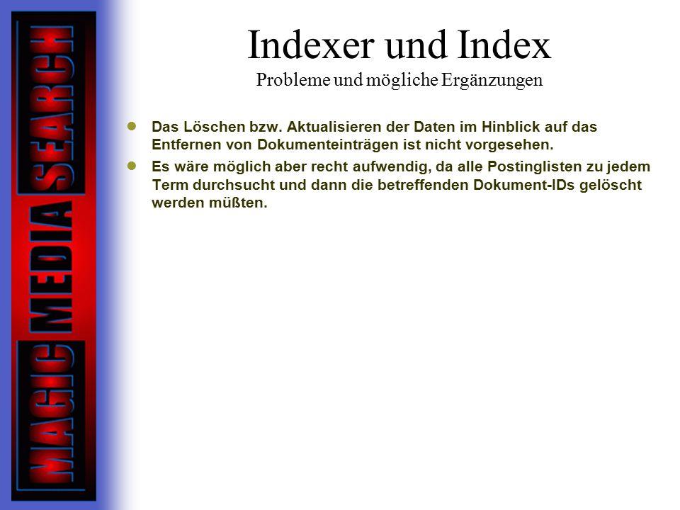 Indexer und Index Probleme und mögliche Ergänzungen