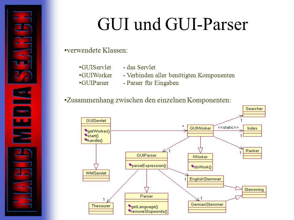 GUI und GUI-Parser verwendete Klassen: