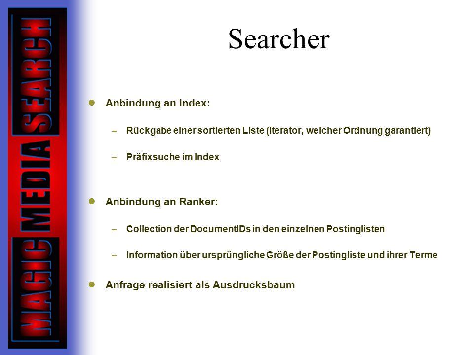 Searcher Anbindung an Index: Anbindung an Ranker: