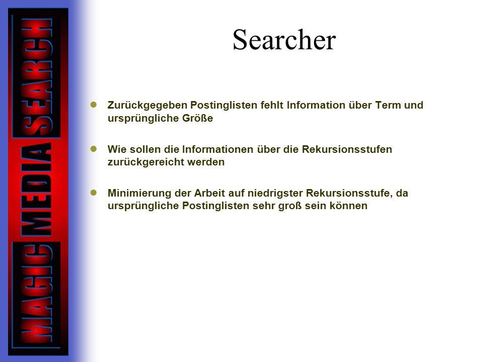 Searcher Zurückgegeben Postinglisten fehlt Information über Term und ursprüngliche Größe.