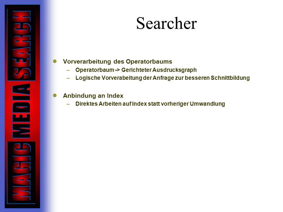 Searcher Vorverarbeitung des Operatorbaums Anbindung an Index