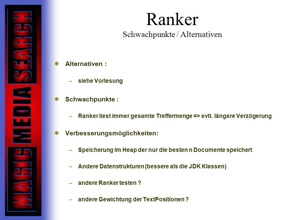 Ranker Schwachpunkte / Alternativen