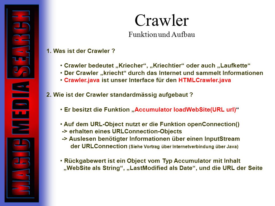 Crawler Funktion und Aufbau