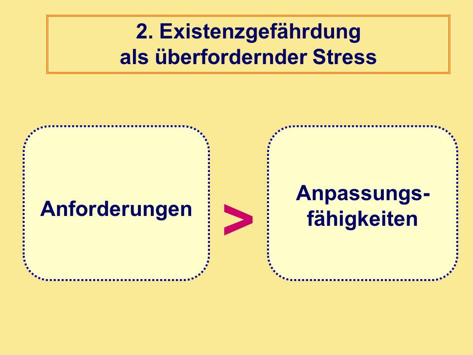 2. Existenzgefährdung als überfordernder Stress Anpassungs-fähigkeiten