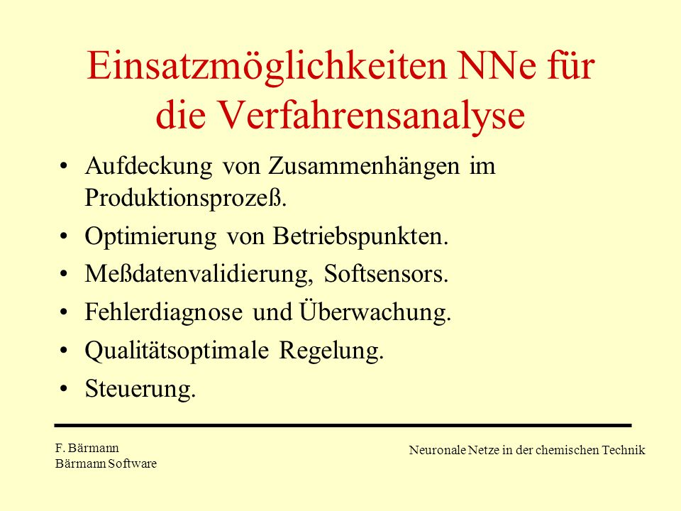 Einsatzmöglichkeiten NNe für die Verfahrensanalyse