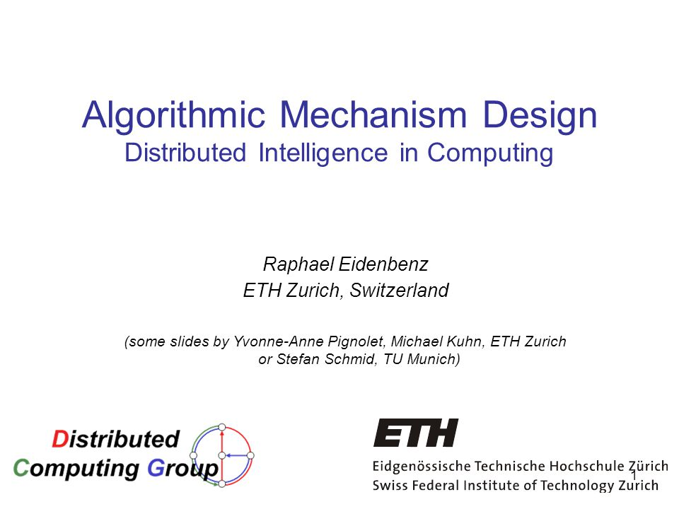 Algorithmic Mechanism Design Distributed Intelligence in Computing
