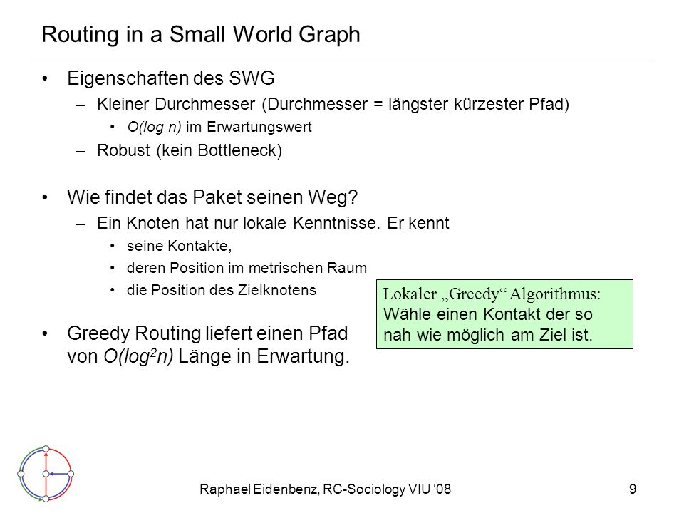 Routing in a Small World Graph