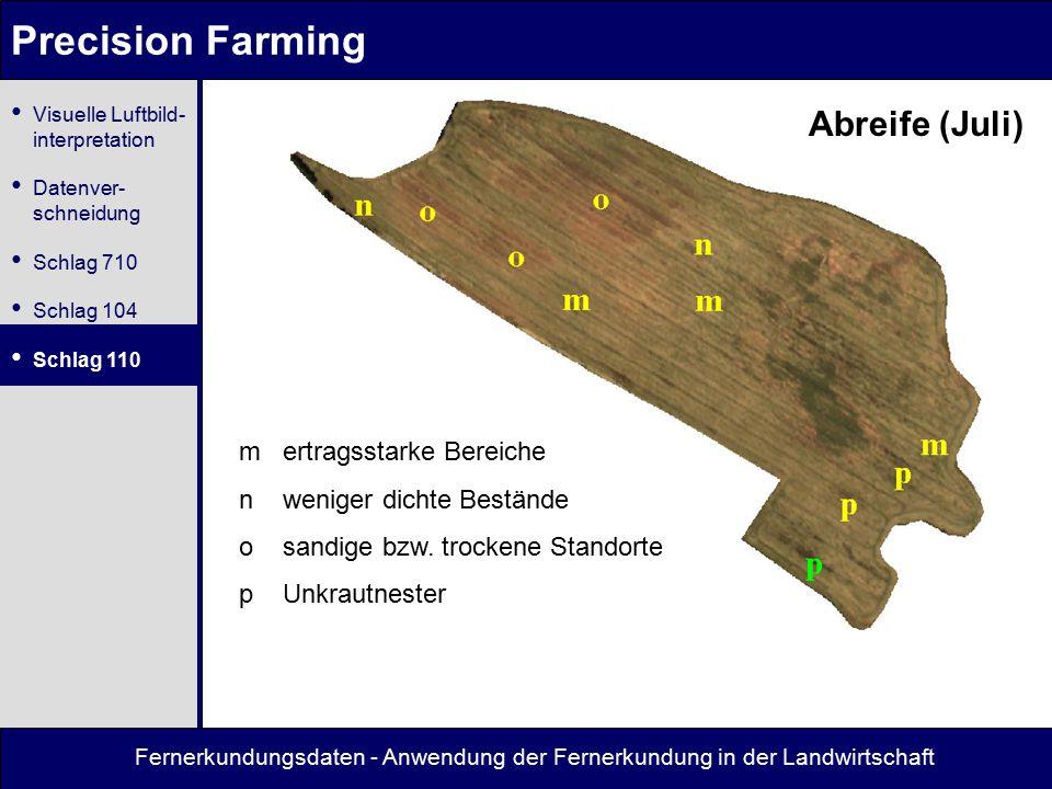 Precision Farming Abreife (Juli) m ertragsstarke Bereiche