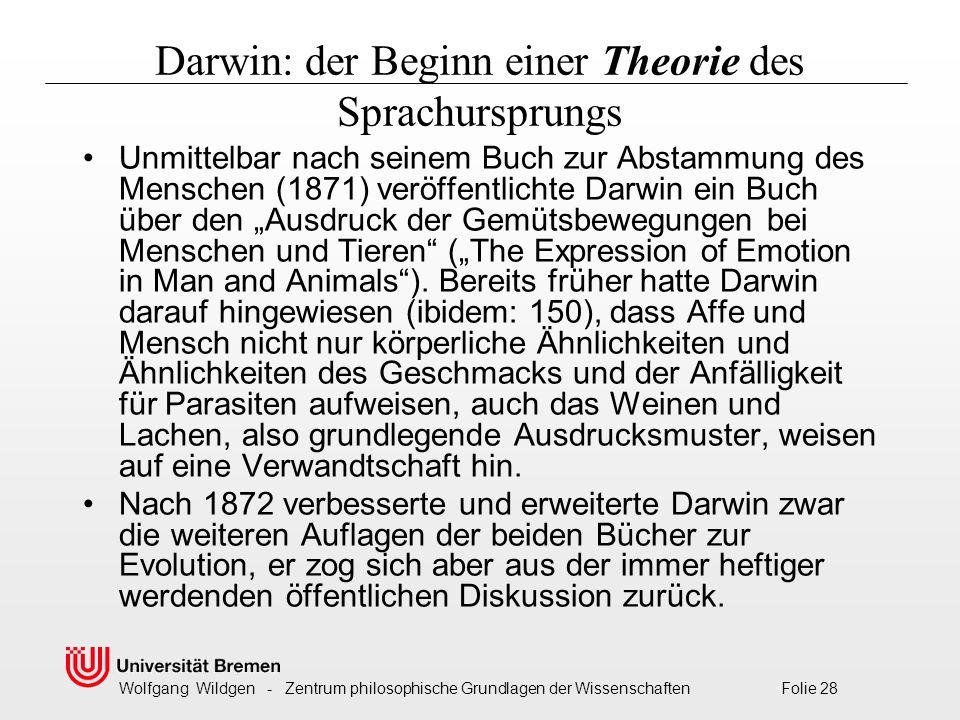 Darwin: der Beginn einer Theorie des Sprachursprungs