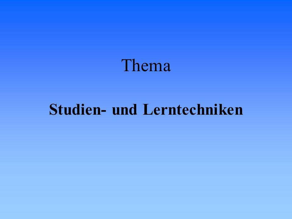 Studien- und Lerntechniken