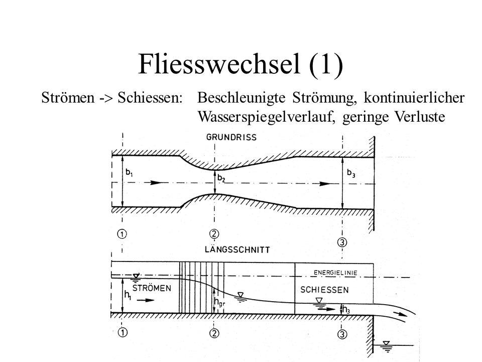Fliesswechsel (1) Strömen -> Schiessen: Beschleunigte Strömung, kontinuierlicher.