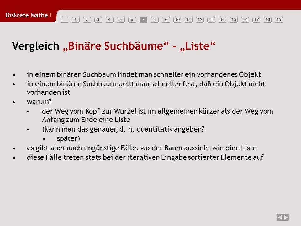 """Vergleich """"Binäre Suchbäume - """"Liste"""