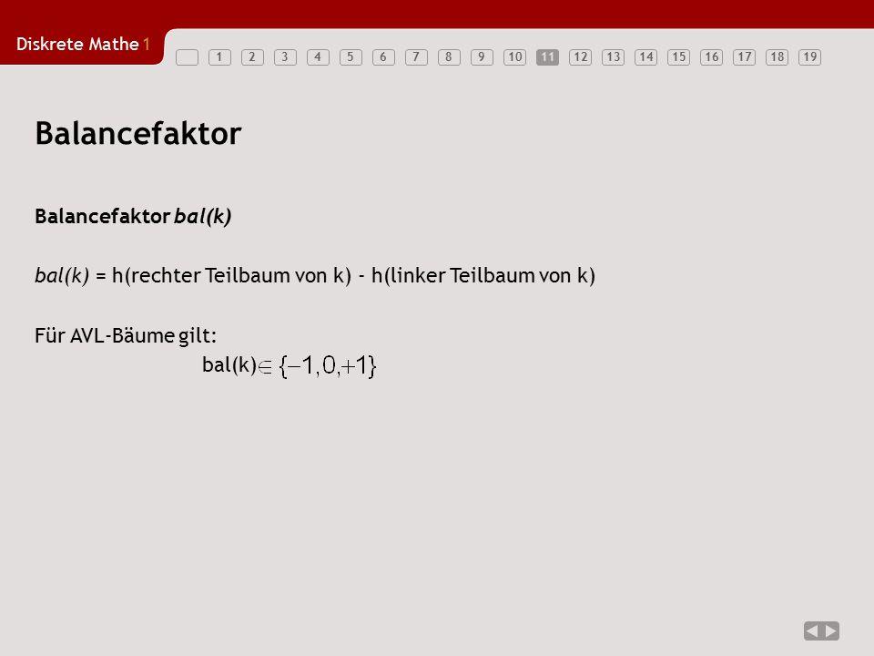 Balancefaktor Balancefaktor bal(k)