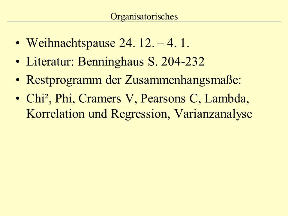 Literatur: Benninghaus S. 204-232 Restprogramm der Zusammenhangsmaße: