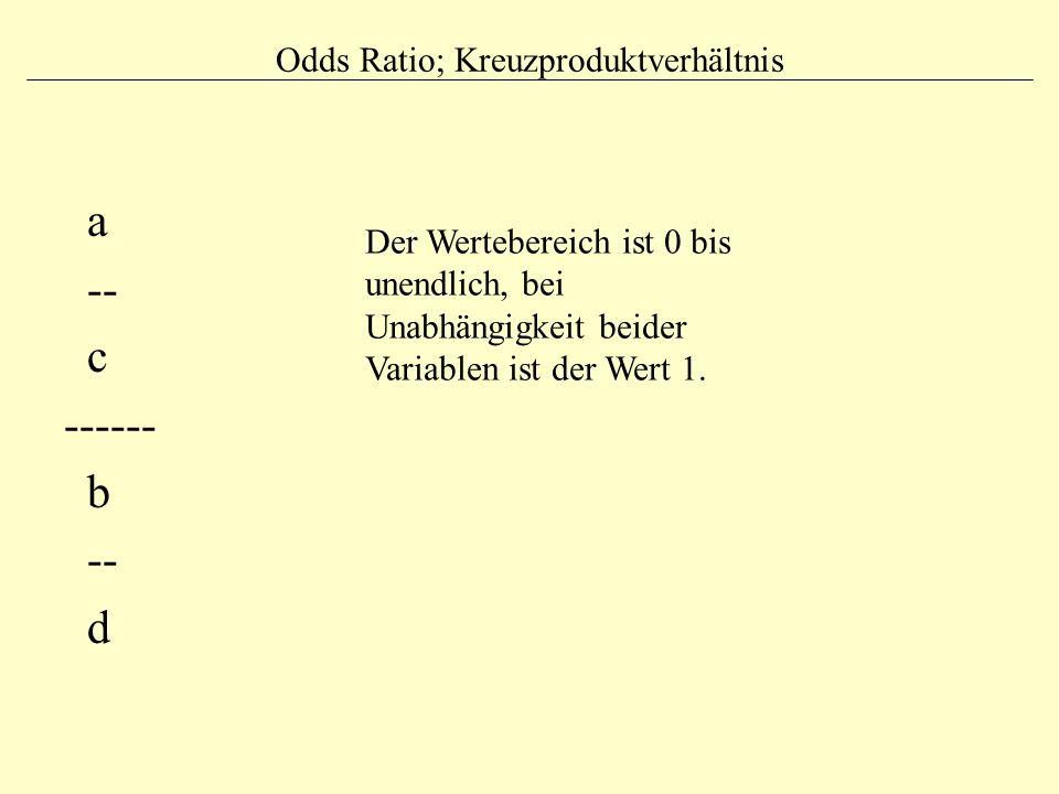 Odds Ratio; Kreuzproduktverhältnis