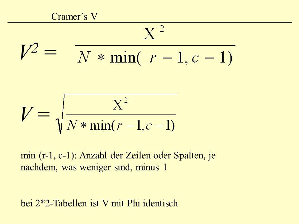 Cramer´s V V2 = V = min (r-1, c-1): Anzahl der Zeilen oder Spalten, je nachdem, was weniger sind, minus 1.
