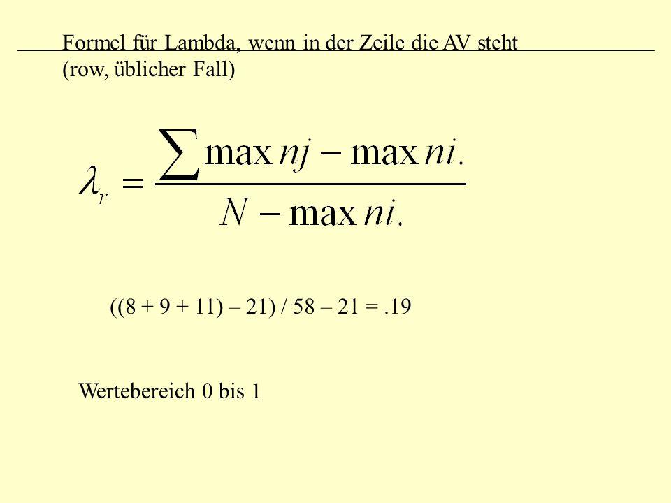 Formel für Lambda, wenn in der Zeile die AV steht (row, üblicher Fall)