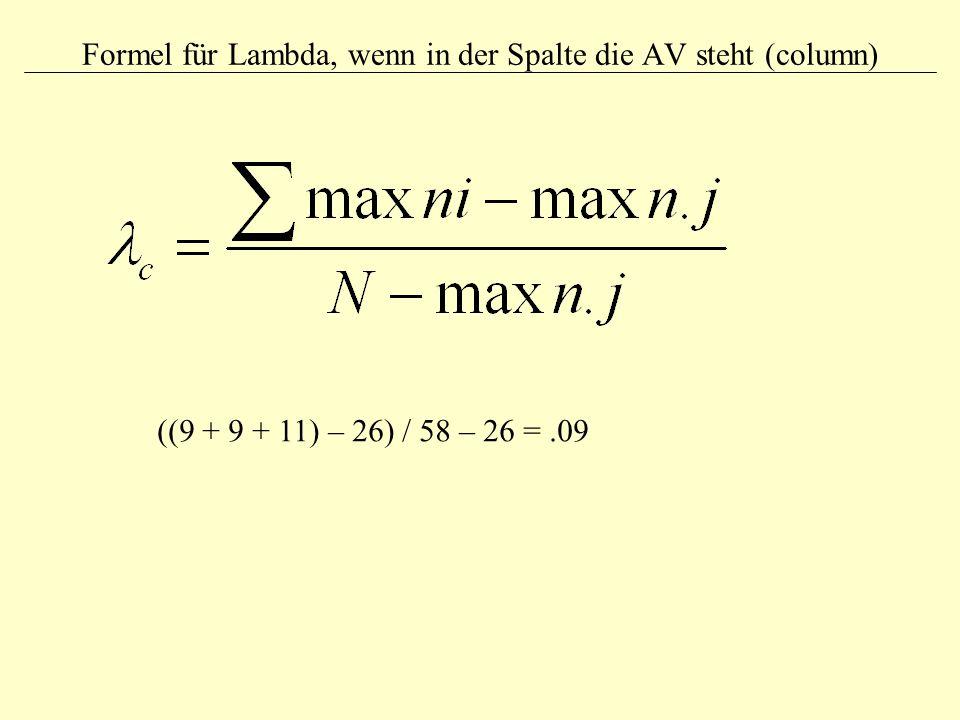 Formel für Lambda, wenn in der Spalte die AV steht (column)