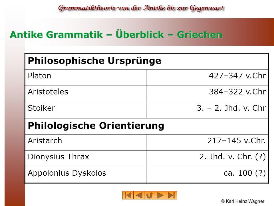 Antike Grammatik – Überblick – Griechen