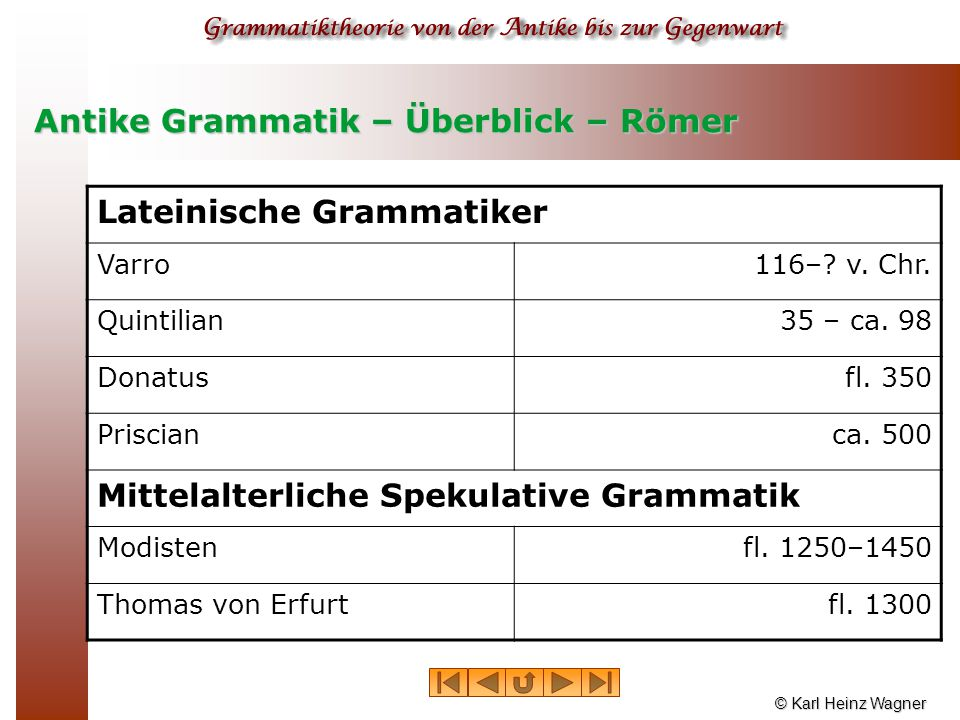 Antike Grammatik – Überblick – Römer