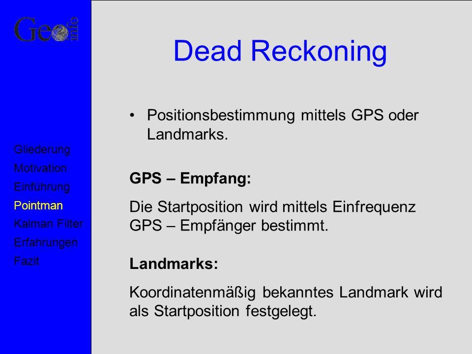 Dead Reckoning Positionsbestimmung mittels GPS oder Landmarks.