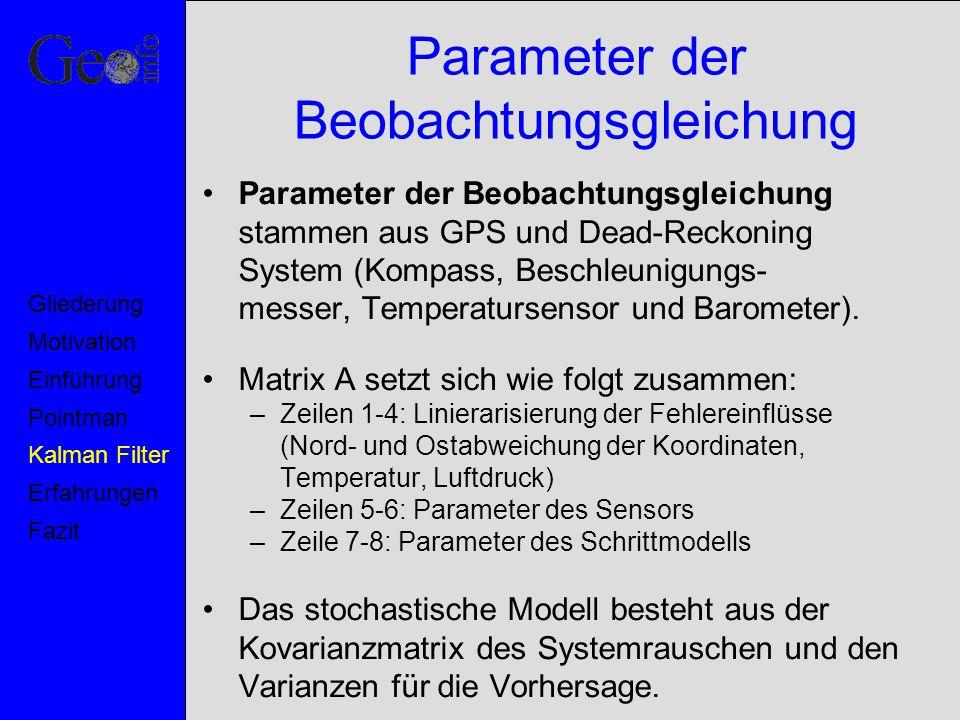 Parameter der Beobachtungsgleichung