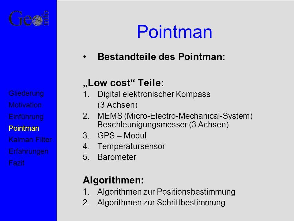 """Pointman Bestandteile des Pointman: """"Low cost Teile: Algorithmen:"""