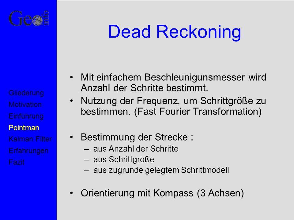 Dead Reckoning Mit einfachem Beschleunigunsmesser wird Anzahl der Schritte bestimmt.