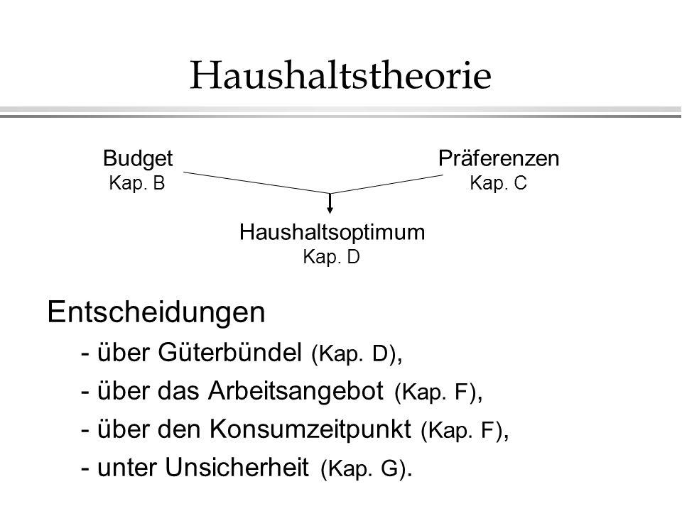 Haushaltstheorie Entscheidungen - über Güterbündel (Kap. D),