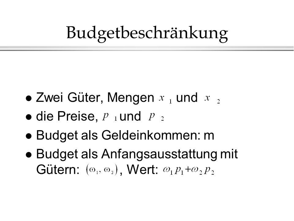 Budgetbeschränkung Zwei Güter, Mengen und die Preise, und