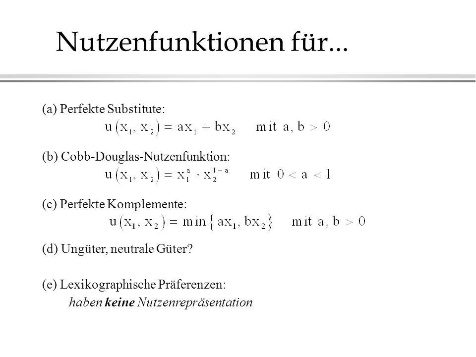 Nutzenfunktionen für... (a) Perfekte Substitute: