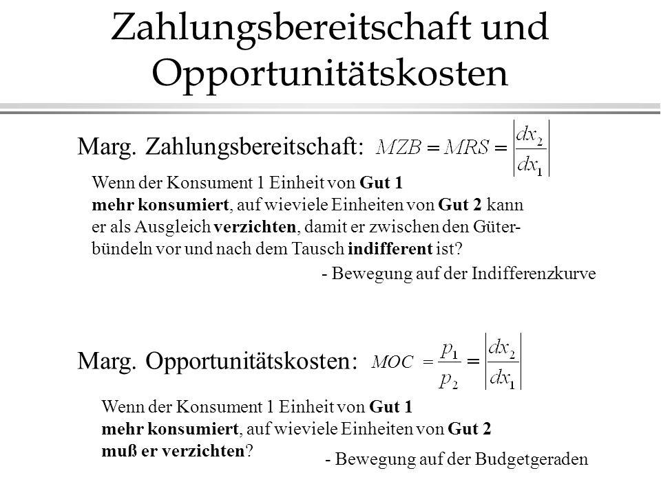 Zahlungsbereitschaft und Opportunitätskosten