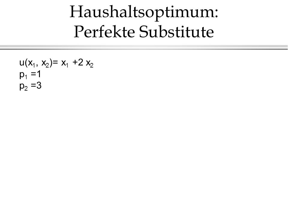 Haushaltsoptimum: Perfekte Substitute