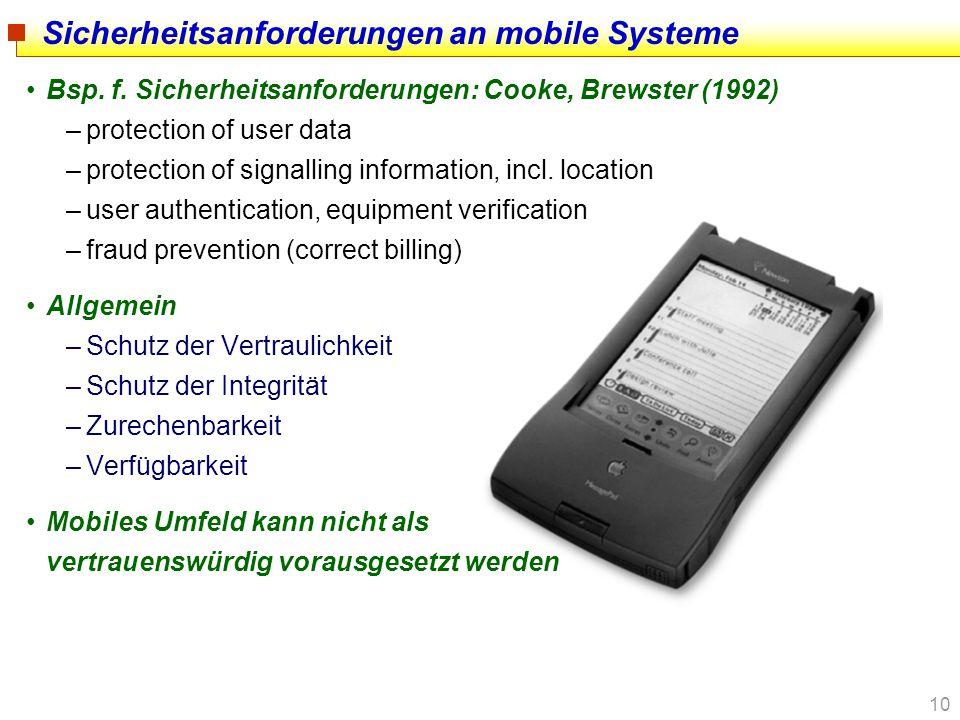 Sicherheitsanforderungen an mobile Systeme