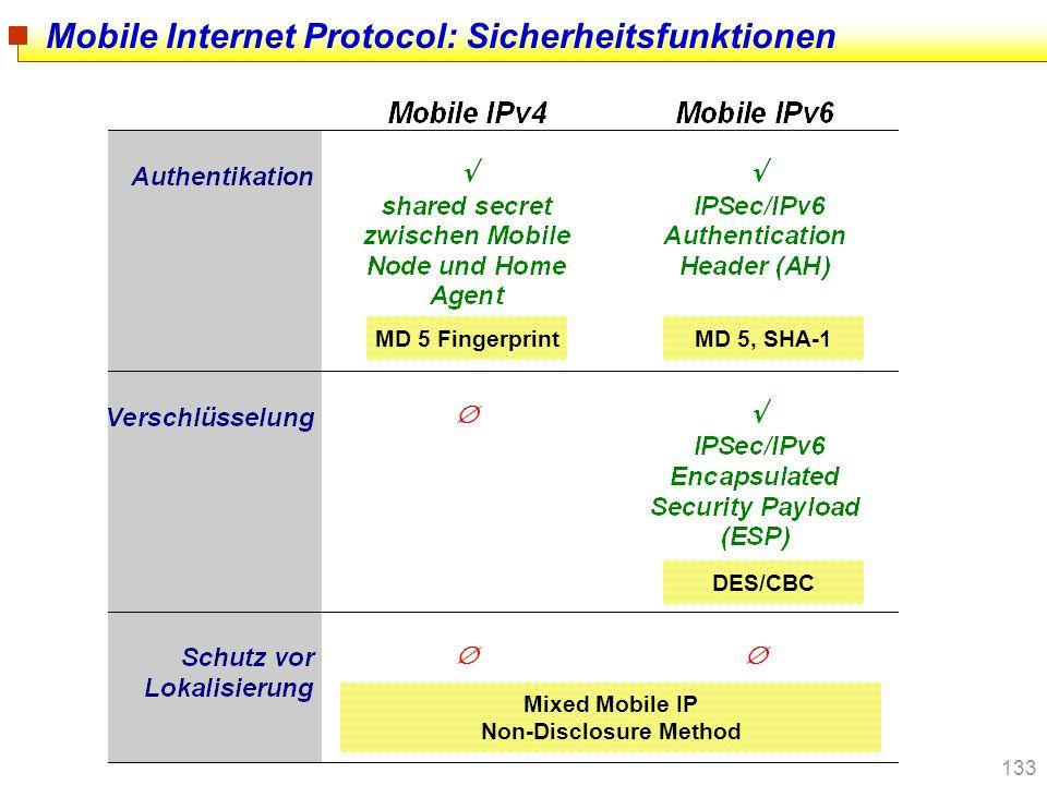 Mobile Internet Protocol: Sicherheitsfunktionen