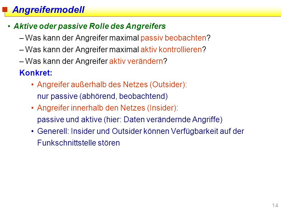 Angreifermodell Aktive oder passive Rolle des Angreifers
