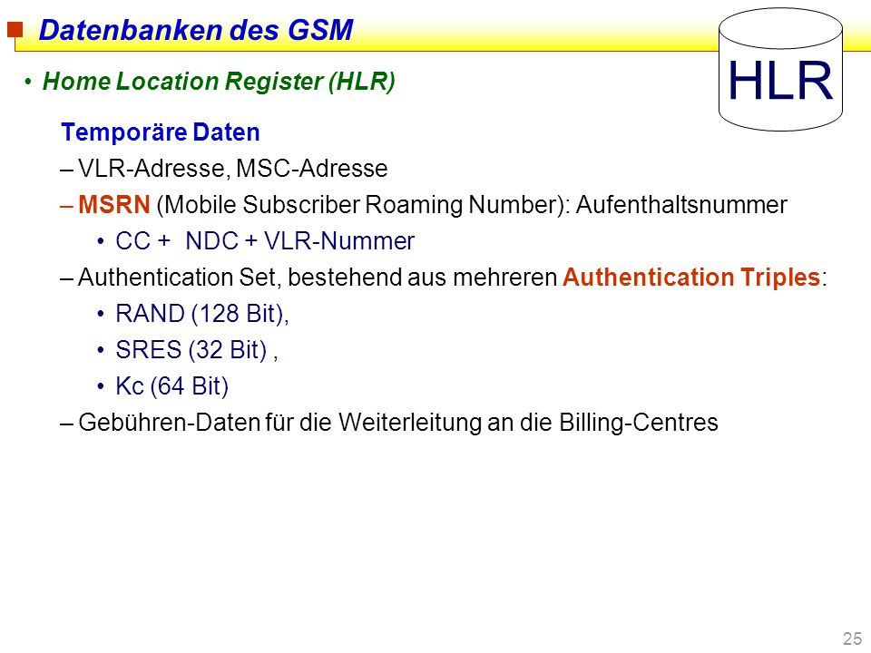 HLR Datenbanken des GSM Home Location Register (HLR) Temporäre Daten