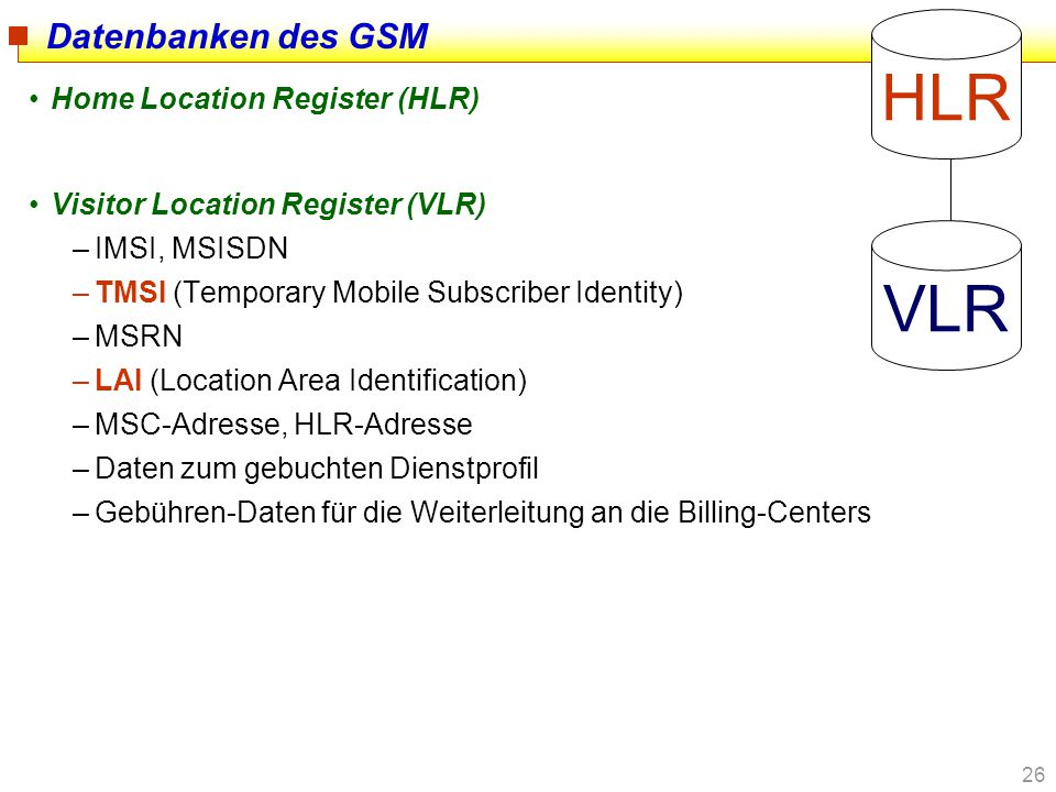 HLR VLR Datenbanken des GSM Home Location Register (HLR)