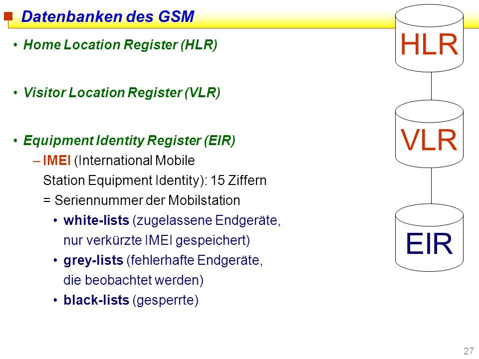 HLR VLR EIR Datenbanken des GSM Home Location Register (HLR)