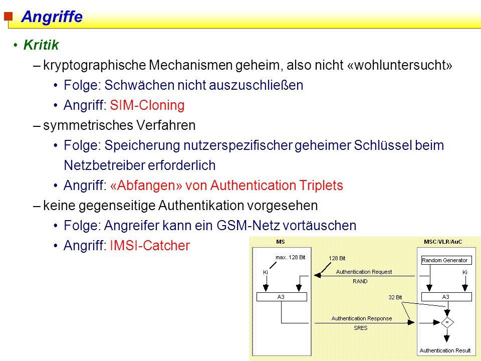 Angriffe Kritik. kryptographische Mechanismen geheim, also nicht «wohluntersucht» Folge: Schwächen nicht auszuschließen.