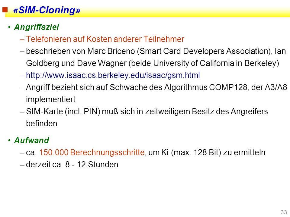 «SIM-Cloning» Angriffsziel Telefonieren auf Kosten anderer Teilnehmer