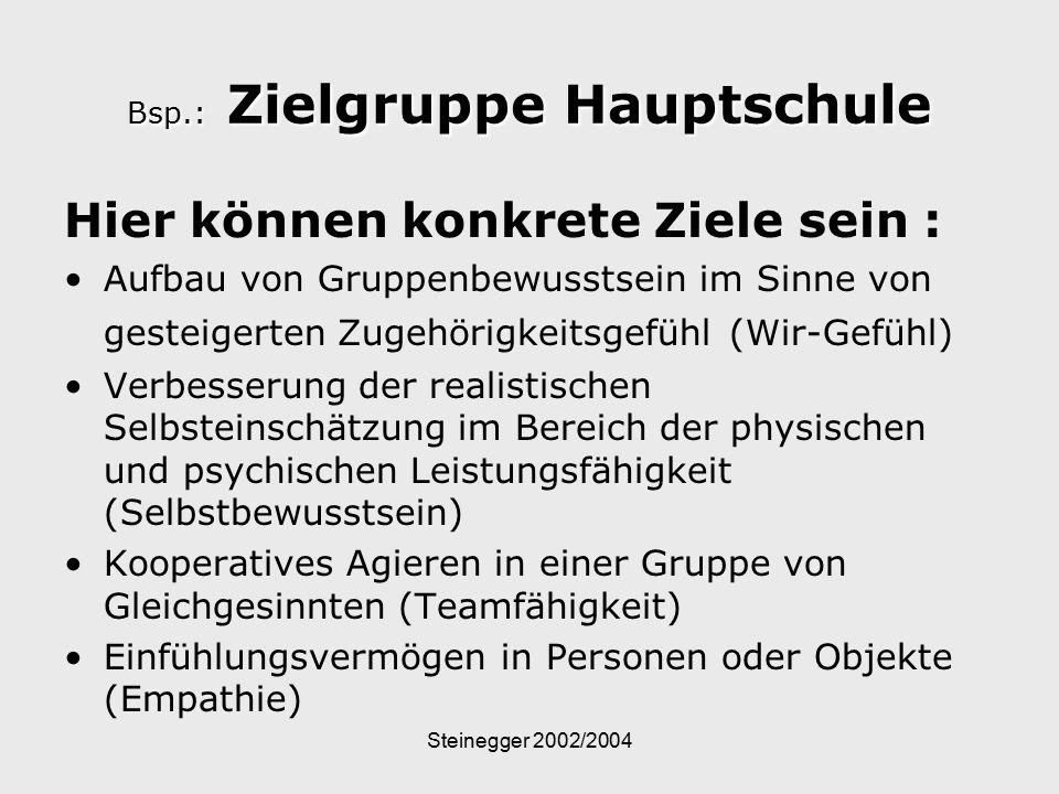 Bsp.: Zielgruppe Hauptschule